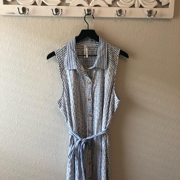 Anthropologie Dresses & Skirts - By Anthropologie Blue White Striped Eyelet Dress